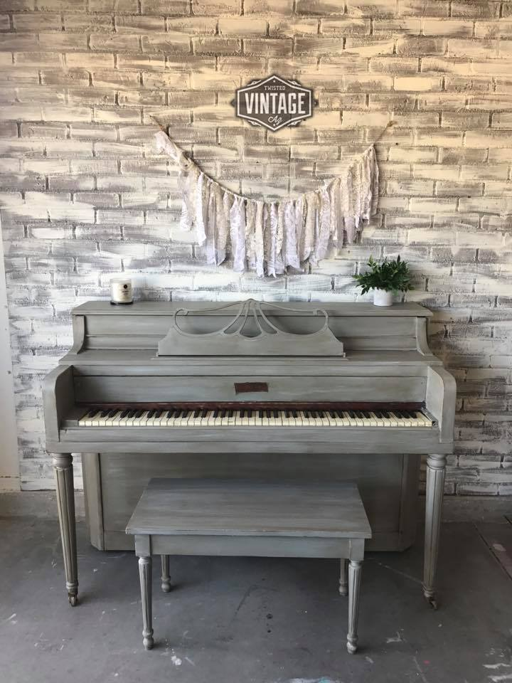 Piano in Empire Gray Chalk Style Paint  General Finishes