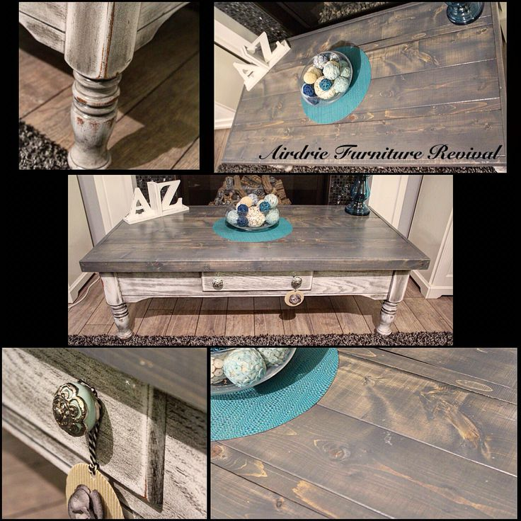 Dining Table In Gray Gel Stain And Snow White Milk Paint