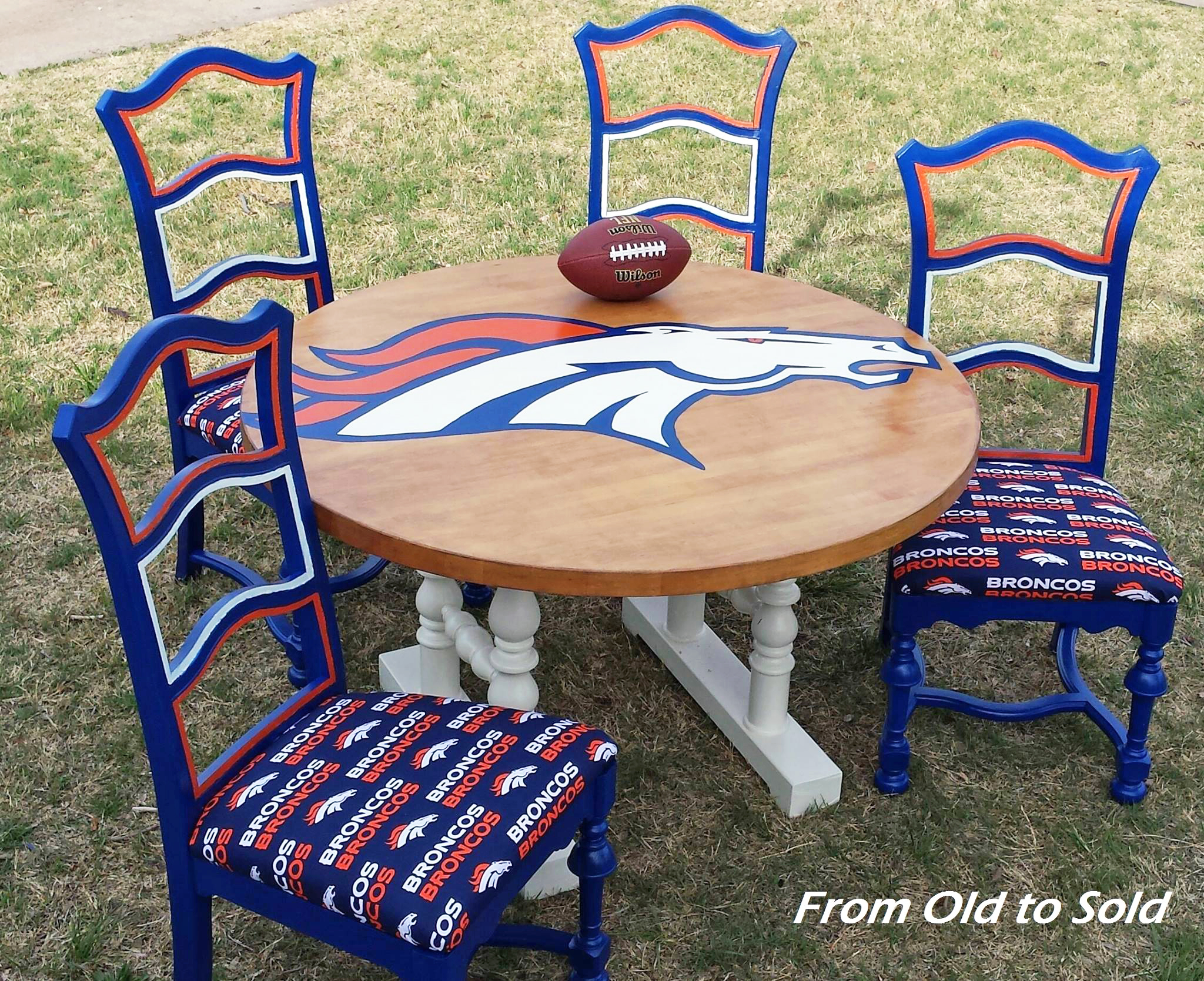 Denver Broncos Chair Denver Broncos Game Table With Gf Milk Paint General