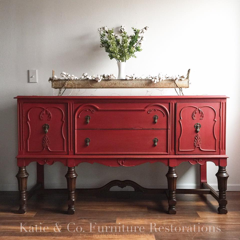 Buffet Painted in Holiday Red  General Finishes Design Center