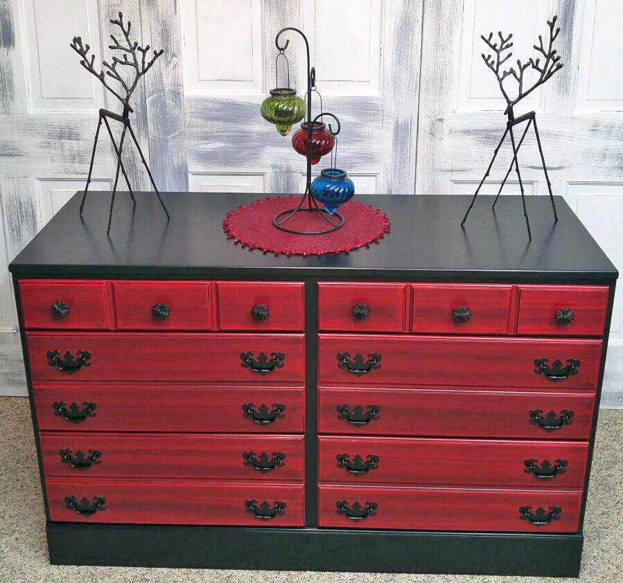 Holiday Red and Pitch Black Glazed Dresser  General