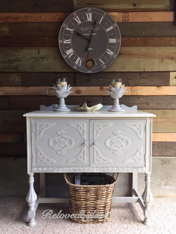 Cabinet in Seagull Gray  Antique White Milk Paint