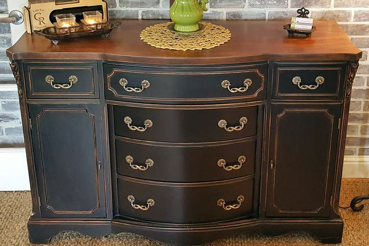 Divine Distressed Buffet in Lamp Black  General Finishes