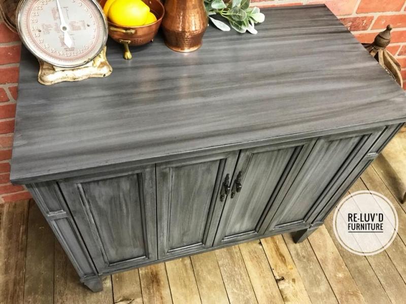 kitchen buffet storage cabinet undermount sinks lowes in gray gel stain w/ pitch black glaze effects ...