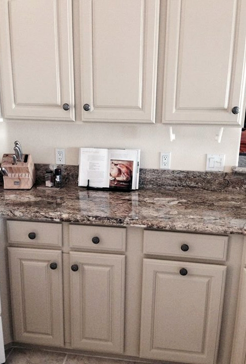 blue pearl granite kitchen white island with butcher block top millstone cabinets | general finishes design center