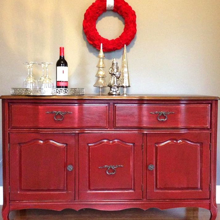 kitchen cabinet stain sherwin williams paint tuscan red and antique walnut buffet | general finishes ...