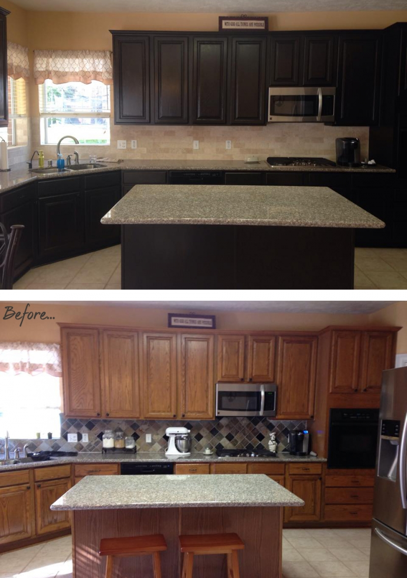 colors to paint kitchen cabinets indianapolis makeover in espresso water based stain | general ...