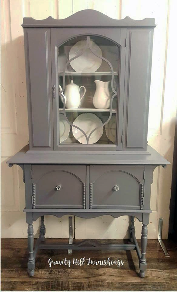 Gray Two Tone China Cabinet  General Finishes Design Center