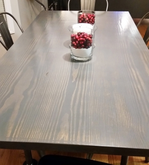 Gray Gel Stain Over Dark Wood