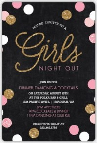 Pink and Black Bubbly Cocktail Girls Night Out Invitation