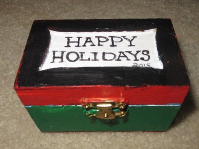Outside of Box Derek made for his First Grade Teacher. (Age 7)