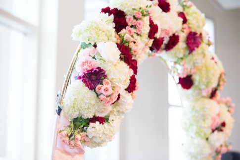 Red White and Pink Floral Ceremony Arch