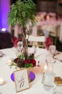 Tall Green and Red Centerpiece with pine cones