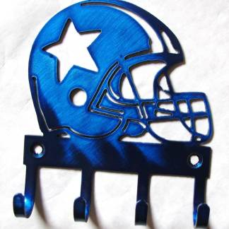metal football helmet with star wall hooks, dallas cowboys star