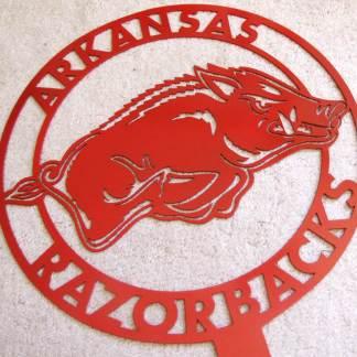 Arkansas razorback metal yard sign