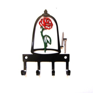 metal beauty and the beast red rose