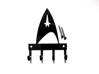 metal star trek badge wall hooks, key holder
