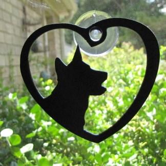 metal blue heeler window art heart heeler