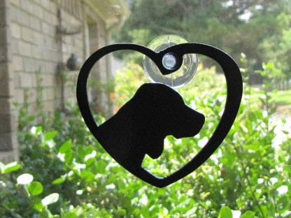 metal window art heart my beagle