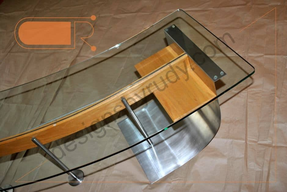 Unique Coffee Table Made Of Stainless Steel, Wood, And