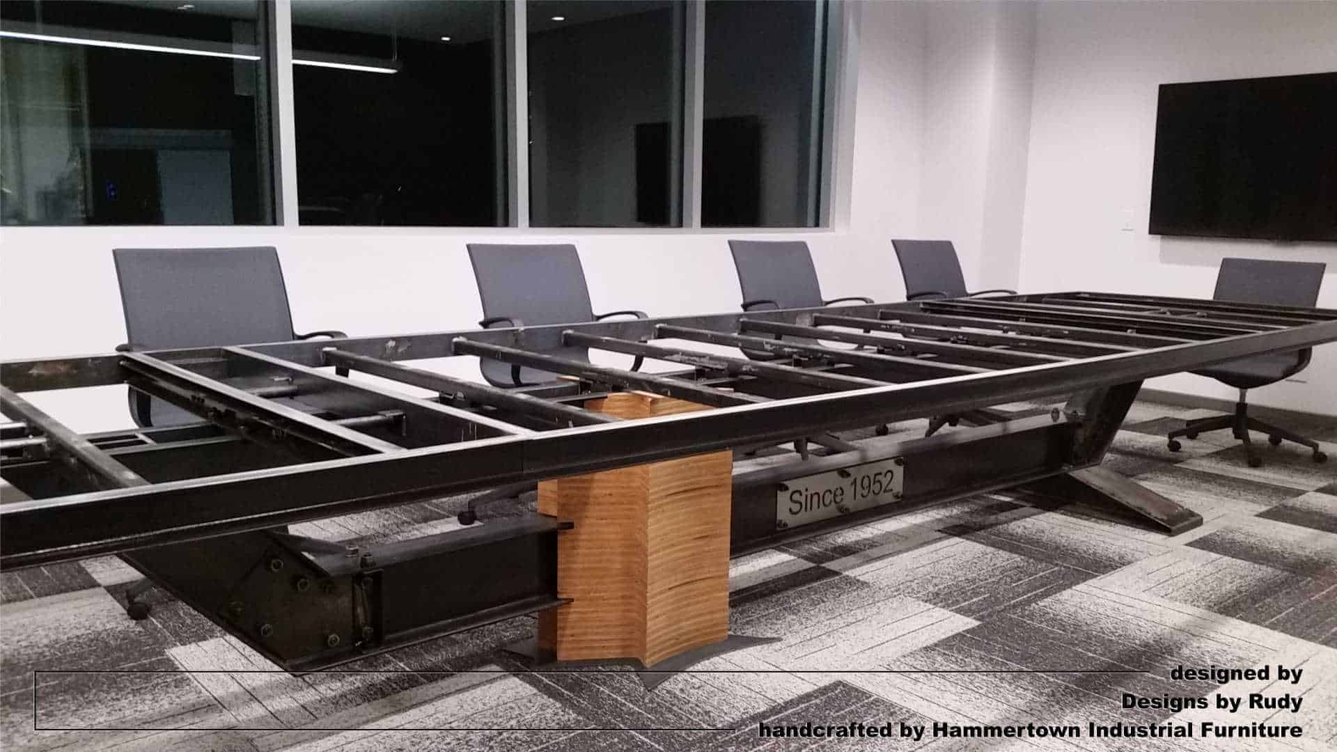 Concrete Top and IBeam Frame Conference Room Table
