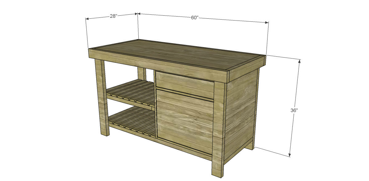 Free Plans To Build A New American Barnwood Kitchen Island