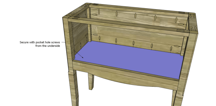 free plans to build a seventh ave inspired janikka table_Shelf 2