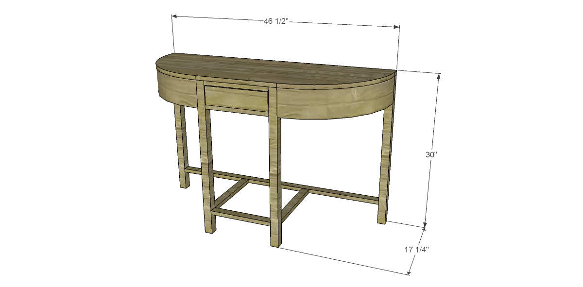 Free Plans to Build a Demilune Console Table
