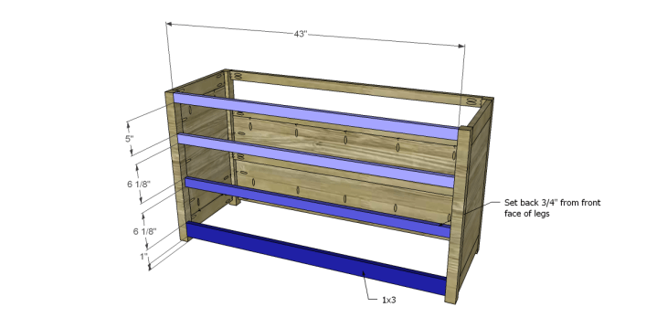 free plans to build a pier one inspired glenfield media stand_Front Stretchers