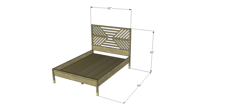 build bed diagonal slatted headboard