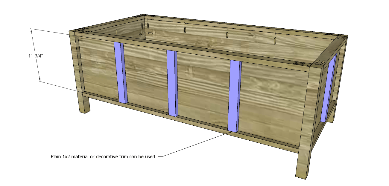Build a trunk style coffee table designs by studio c cut the pieces for the vertical trim position the pieces so they are evenly spaced then secure using 1 14 brad nails storage coffee table planstrim geotapseo Image collections