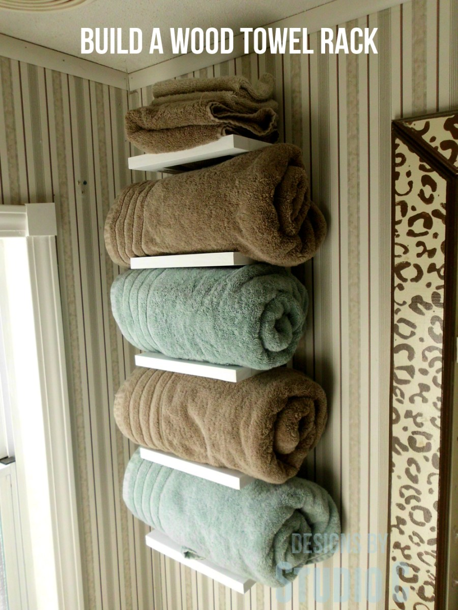 build a wood towel rack designs by studio c. Black Bedroom Furniture Sets. Home Design Ideas