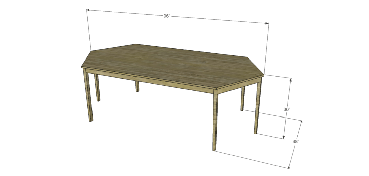 free furniture plans build elongated hexagon table