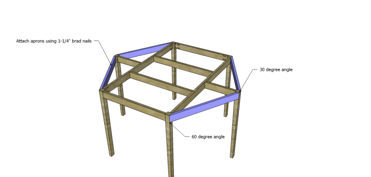free furniture plans build hexagon dining table_Angled Aprons 2