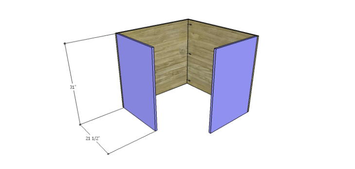 Corner Kitchen Cabinet Plans-Lower Sides