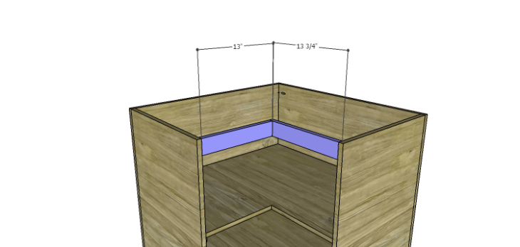 Corner Kitchen Cabinet Plans-Lower Stretchers
