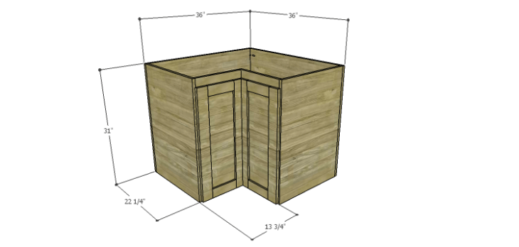 Corner Kitchen Cabinet Plans-Lower Corner Cabinet