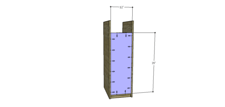 DIY Mini Fridge Cabinet Plans-Side Back
