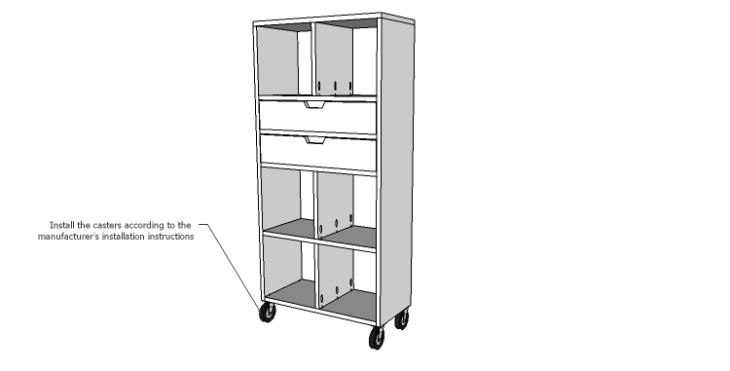 DIY Plans to Build a Rolling Storage Cubby_Casters