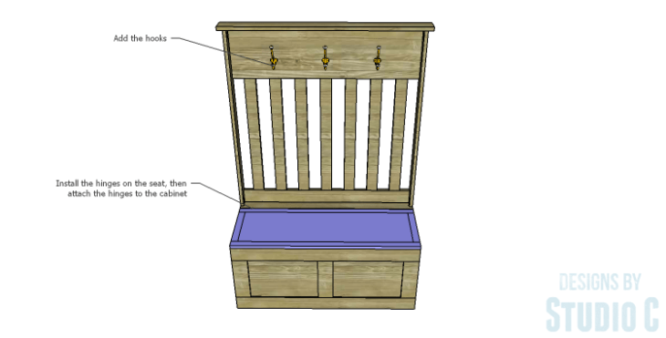 DIY Plans to Build a Slatted Hall Bench_Seat 2