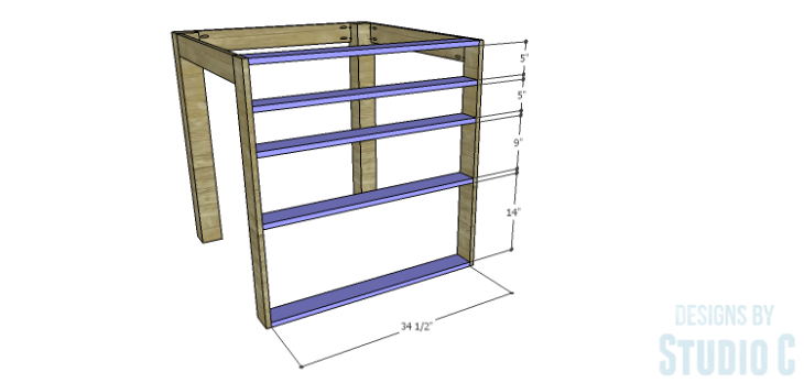 DIY Plans to Build a Storage Counter Height Table_Storage Shelves