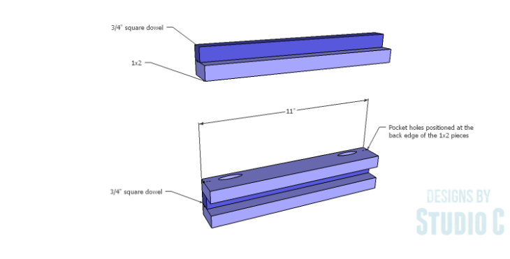 DIY Plans to Build a Holly Bookcase_Side Stretchers