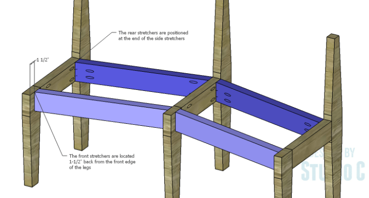 DIY Plans to Build a Curved Seat Bench_Stretchers 2