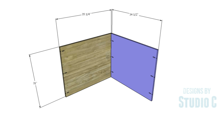 DIY Plans to Build a Diagonal Corner Base Kitchen Cabinet_Back