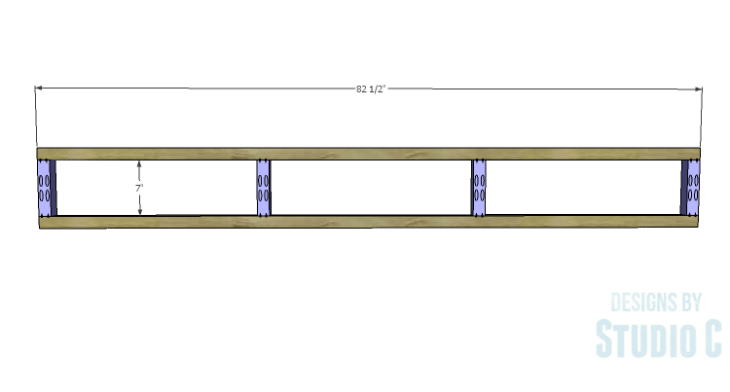 DIY Plans to Build a Rustic Metal Strap Queen Bed_Outer Framing