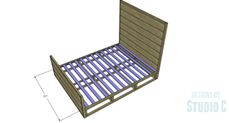 DIY Plans to Build a Rustic Metal Strap Queen Bed_Slats