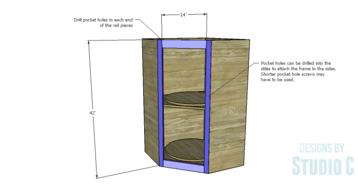 DIY Plans to Build a Tall Diagonal Face Upper Corner Cabinet_Face Frame