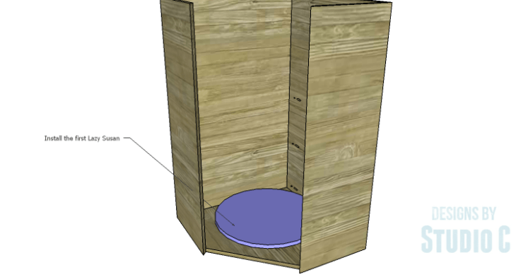 DIY Plans to Build a Tall Diagonal Face Upper Corner Cabinet_Lazy Susan 1