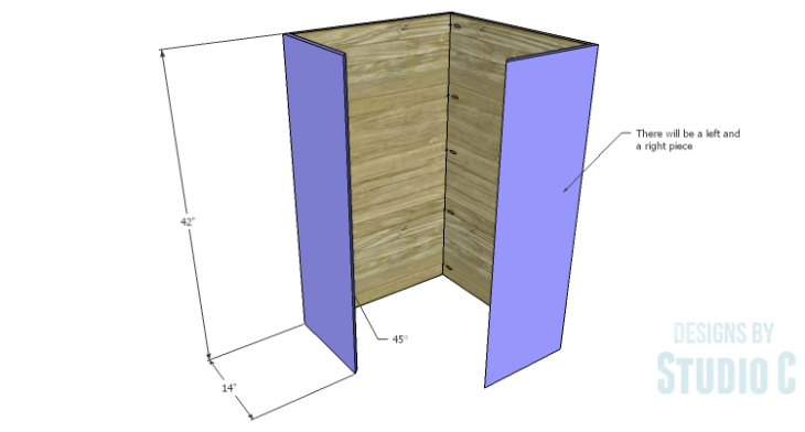 DIY Plans to Build a Tall Diagonal Face Upper Corner Cabinet_Sides