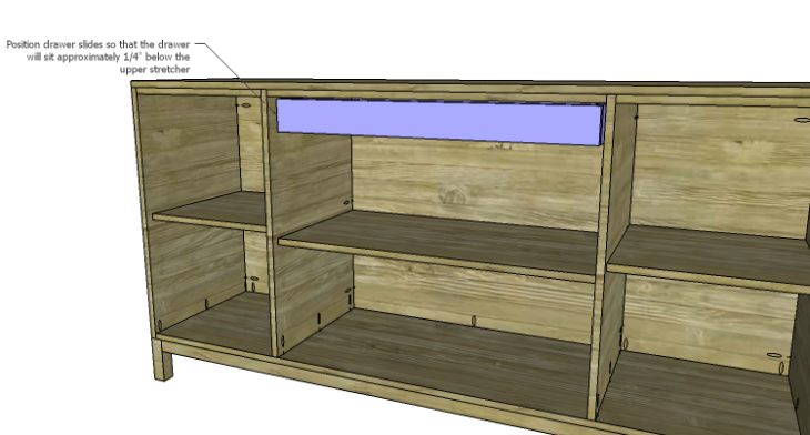 DIY Plans to Build a Long Paneled Sideboard_Drawer in Cabinet